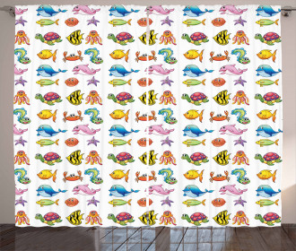 Happy Underwater Fauna Curtain