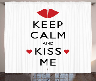 Kiss Me Red Hearts Curtain
