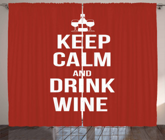 Drink Wine Slogan Curtain