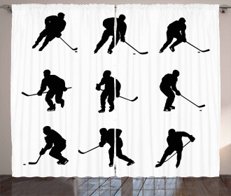 Black Player Silhouettes Curtain