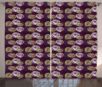 Artistic Doodle Roses Curtain