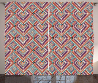 Colorful Rhombus Motif Curtain
