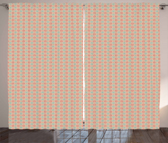 Watercolor Lines Dots Curtain