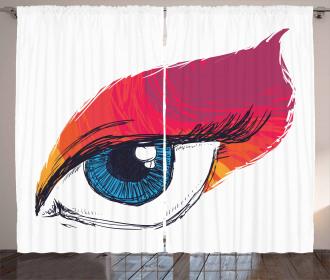 Sketch Art Single Blue Eye Curtain