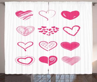 Doodle Hearts Curtain