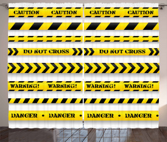 Caution Tapes Pattern Curtain