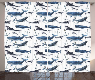 Orcas and Blue Whales Curtain