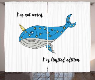 Hand Drawn Blue Whale Curtain