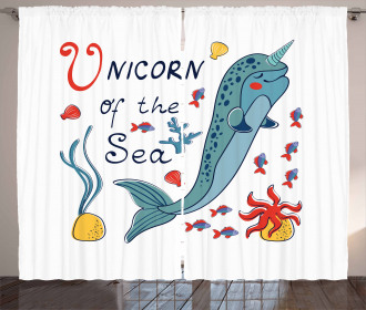 Colorful Swimming Whale Curtain