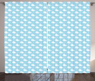 Blue Baby Shower Design Curtain
