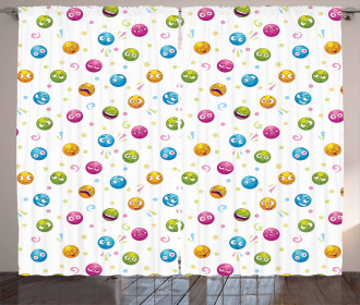 Colorful Round Fun Faces Curtain