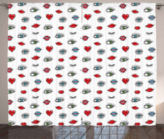 Eyes Hearts Lips Beauty Curtain