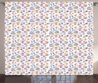 Kids Bunny and Chicken Curtain