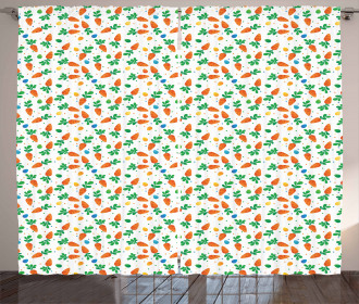 Orange Carrots Eggs Dots Curtain