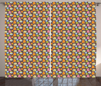 Bunny Silhouettes Eggs Curtain