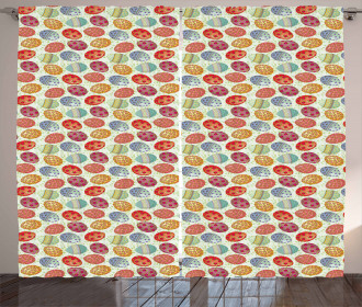 Flowery Vintage Eggs Curtain