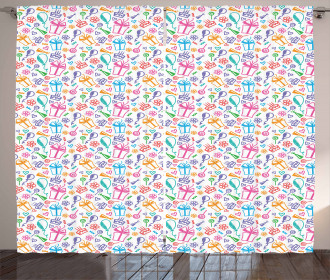 Kids Baby Doodle Icons Curtain