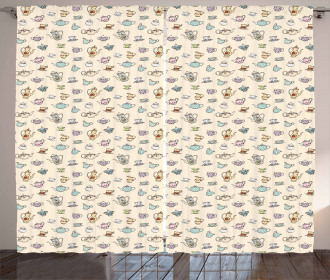 Vintage Floral Cups Curtain