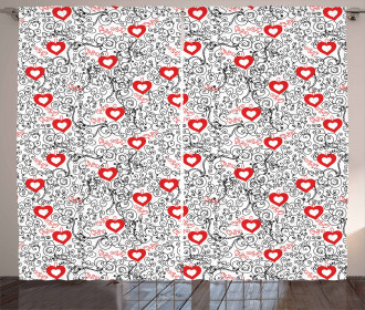 Romantic Hearty Icons Curtain