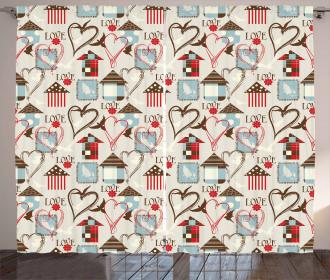 Vintage Plaid Design Curtain