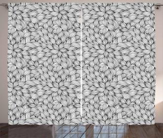 Line Art Foliage Curtain