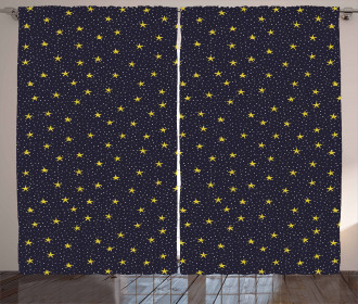 Yellow Stars and Dots Curtain