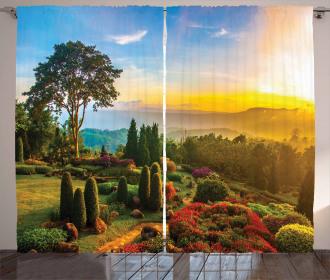 Colorful Idyllic Nature Curtain