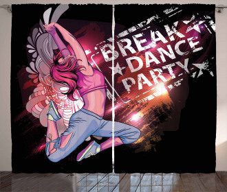 Break Dance Party Theme Curtain