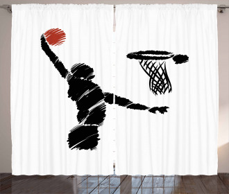 Basketball Player Artwork Curtain