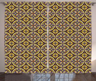 Violet Flowers Mosaic Curtain