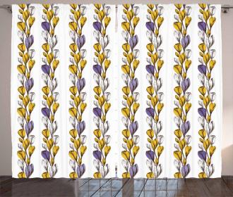 Crocus Bouquets Sketch Curtain