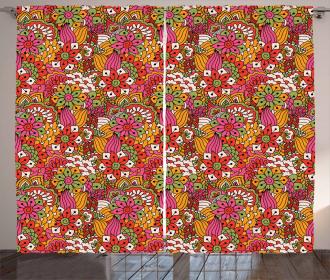 Floral Vibrant Art Curtain