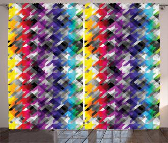 Diagonal Houndstooth Curtain