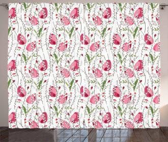 Fresh Leaves Berries Curtain