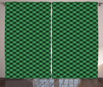 Diagonal Tartan Green Curtain