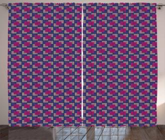 Blue Toned Squares Curtain