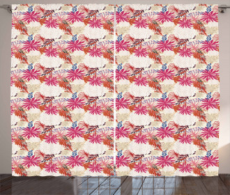 Abstract Tropical Blooms Curtain