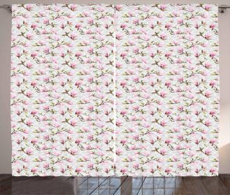 Magnolia Flower Pattern Curtain