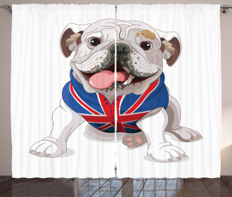 Puppy with Flag Curtain