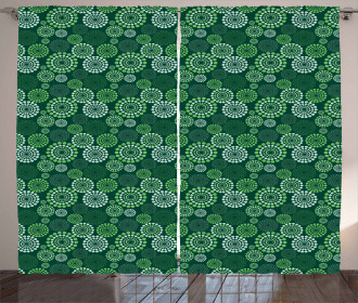 Green Dotted Pattern Curtain
