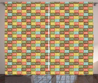 Checkered Net Pattern Curtain
