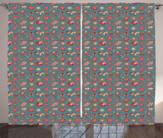 Noel Themed Cartoon Curtain