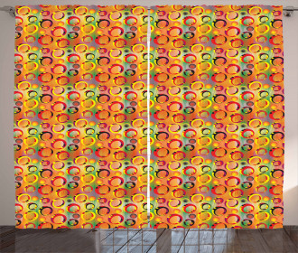 3D Ring Shapes Grunge Curtain