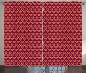 Symmetrical Floral Tile Curtain