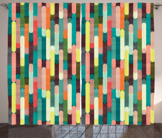 Colorful Grunge Stripes Curtain