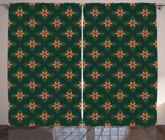 Ornate Flower Design Curtain