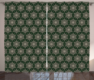 Floral Motif Timeless Retro Curtain