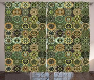 Oriental Floral Octagon Curtain