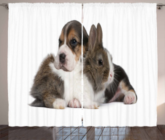 Rabbit Puppy Pet Friends Curtain