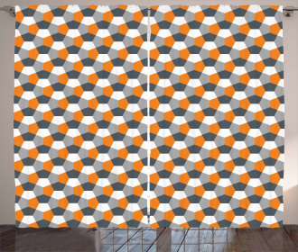 Modern Hexagonal Tile Curtain